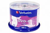 Диск DVD+R Verbatim 4.7Gb, 16x, Printable, 50шт.Cake Box