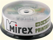 Диск DVD+R Mirex 4.7Gb, 16x, 25шт. Cake Box, printable inkjet