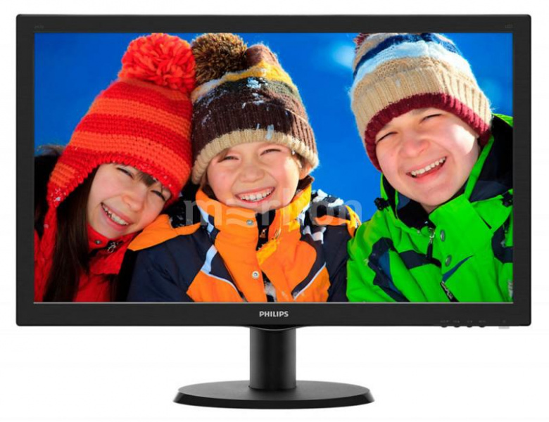 "Монитор Philips 23.6"" 243V5LSB (10/62) черный 1920x1080, TN, 5ms, 250cd, 1000:1, D-Sub"